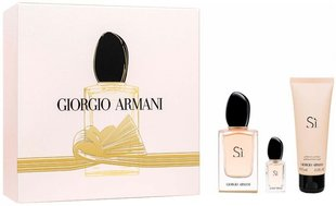 Giorgio Armani Si kvepalų rinkinys moterims: EDP 50 ml + EDP 7 ml + dušo želė 75 ml kaina ir informacija | Kvepalai moterims | pigu.lt