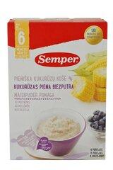 Pieniška kukurūzų košė su mėlynėmis Semper, nuo 6 mėn., 250 gr