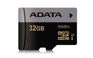 A-Data 32GB Premier Pro microSDHC Class 10 UHS-I U3 + Adapteris 95MB/s