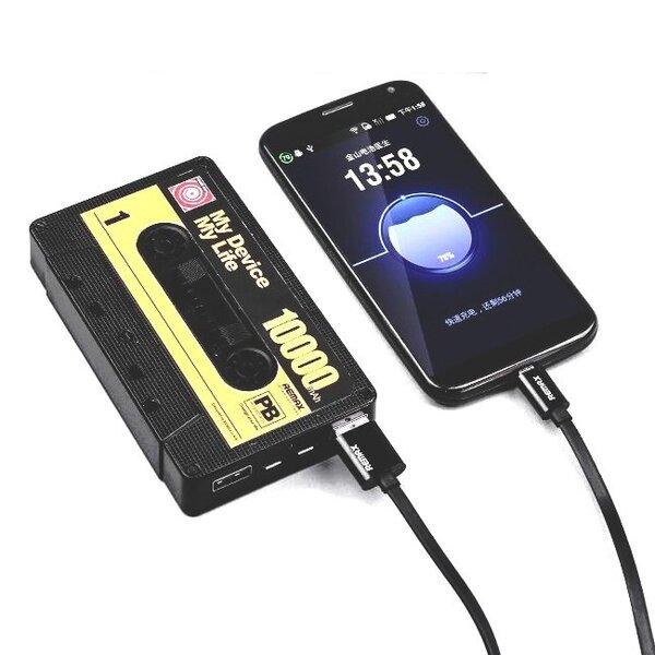 Remax RP-T10 Old Tape 10000mAh Power Bank, Juodas kaina