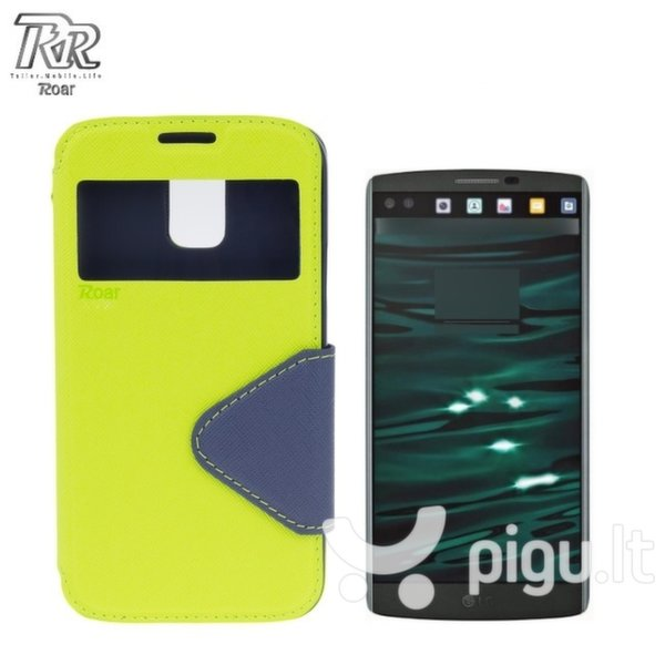 Roar Fancy Diary S-View Book Case with window and stand LG H900 V10 Light Green/Blue (EU Blister) kaina ir informacija | Telefono dėklai | pigu.lt