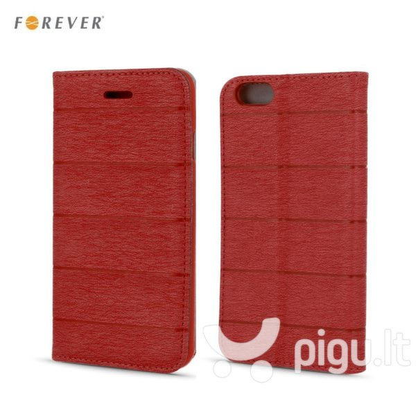 Apsauginis dėklas Forever Smart Magnetic Fix Cloth Line skirtas Apple iPhone 6/6S, Raudonas