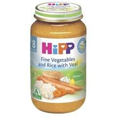 Švelnių daržovių su veršiena tyrelė HIPP BIO, nuo 8 mėn., 220g
