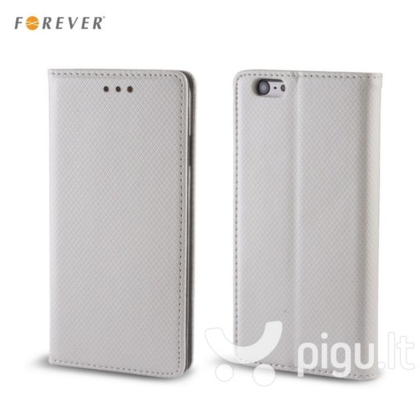 Apsauginis dėklas Forever Smart Magnetic Fix Book skirtas Huawei Ascend Y5 II (2016), Sidabrinis