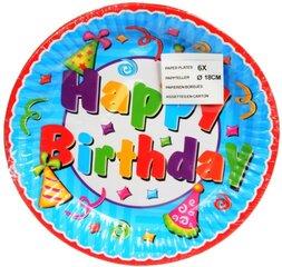 Lėkštutės Happy Birthday, 18 cm/6 vnt.