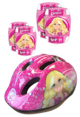 Apsaugų ir šalmo rinkinys Insportline Barbie, rožinis
