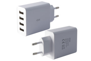 KSIX Travel charger BXCD4U Wall Charger with 4 USB Ports 5A, Compatible with Smartphones and Tablets