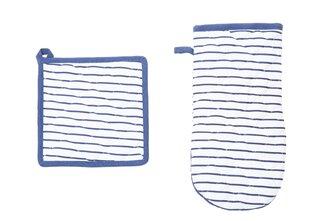 Virtuvinė pirštinė ir puodkėlė STRIPE mėlyna, 20x20 cm. kaina ir informacija | Staltiesės, virtuviniai rankšluosčiai | pigu.lt