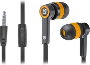 DEFENDER Headset for mobile devices Pulse 420 black + orange in-ear kaina ir informacija | Ausinės, mikrofonai | pigu.lt