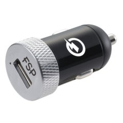 Fortron USB Car Charger, DC 12-24V, BLACK/SILVER Fortron