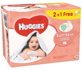 Drėgnos servetėlės HUGGIES Soft Skin, 168 vnt. kaina ir informacija | Drėgnos servetėlės, paklotai | pigu.lt