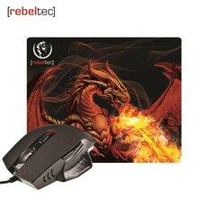 Rebeltec - RED DRAGON žaidimams skirta pelė+kilimėlis pelei