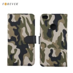 Forever ARMY super thin Fabric book case with silicone holder and stand for Huawei P10 Lite Khaki
