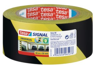 Žymėjimo ir įspėjamoji juosta tesa® Signal (geltona/juoda), 66m x 50mm
