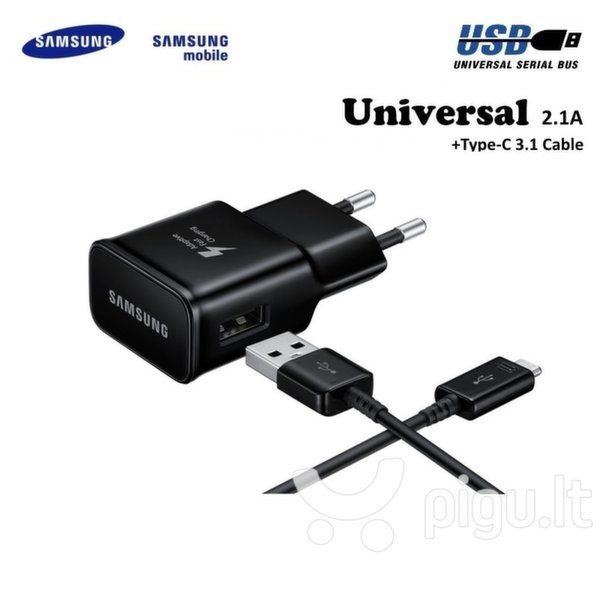 Samsung EP-TA20EBE Adaptive 15W USB Plug 2A Fast Charger + EP-DG950CBE Type-C 3.1 Data Cable Black (OEM)