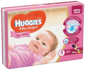 Sauskelnės HUGGIES Ultra Comfort Girls, 3 dydis, 80 vnt.