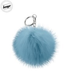 Beeyo Soft Fluffy Ring the Pompom & Smartphone Finger Holder and Stand Gadget Blue/Silver
