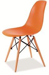 4-ių kėdžių komplektas Enzo, oranžinis/rudas kaina ir informacija | Virtuvės kėdės | pigu.lt