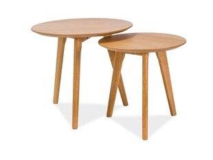 2-jų staliukų komplektas Milan S2, ąžuolo spalvos kaina ir informacija | Kavos staliukai | pigu.lt