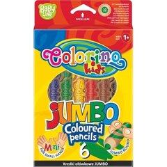 Stori pieštukai JUMBO mažom rankytėm Colorino Kids 6 spalvų, 10mm storio kaina ir informacija | Kanceliarinės prekės | pigu.lt