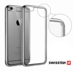 Swissten Elektro Jelly Back Case 0.5 mm Silicone Case With Frame for Apple iPhone X Transparent - Silver