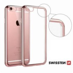 Swissten Elektro Jelly Back Case 0.5 mm Silicone Case With Frame for Apple iPhone X Transparent - Rose/Gold