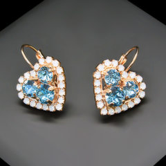"Auskarai moterims DiamondSky ""Open Heart"" su Swarovski kristalais"