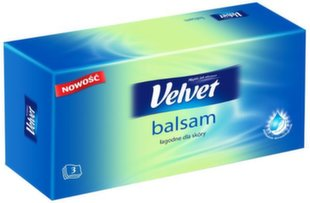 Vienkartinės nosinaitės Velvet Balsam 70 vnt kaina ir informacija | Vatos gaminiai, drėgnos servetėlės | pigu.lt