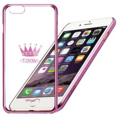 X-Fitted Plastic Case With Swarovski Crystals for Apple iPhone 6 / 6S Pink / Crown kaina ir informacija | Telefono dėklai | pigu.lt