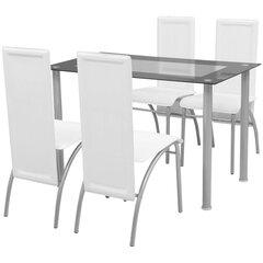 Penkių dalių valgomojo baldų komplektas, baltas kaina ir informacija | Valgomojo komplektai | pigu.lt