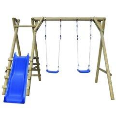 Sūpynių komplektas su kopėčiomis ir čiuožykla, pušies mediena kaina ir informacija | Smėlio dėžės, smėlis | pigu.lt