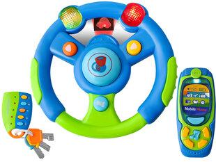 Žaislinis vairas su rakteliais ir telefonu
