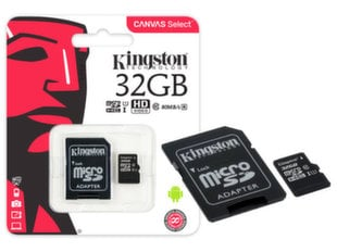 Atminties kortelė Kingston microSDCS 32GB, 10-tos klasės + SD adapteris