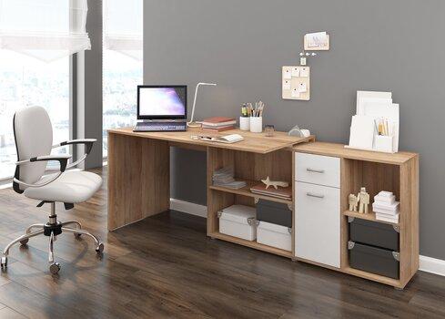 Rašomasis stalas Beat P, baltos/ąžuolo spalvos kaina ir informacija | Kompiuteriniai, rašomieji stalai | pigu.lt