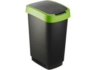 Šiukšlių dėžė Rotho Swing Twist, 25L, juodos sp. su žaliu dekoru kaina ir informacija | Vonios kambario aksesuarai | pigu.lt