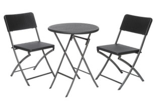 Sulankstomas lauko baldų komplektas Plaza, juodas kaina ir informacija | Lauko baldų komplektai | pigu.lt