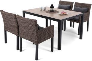 Baldų komplektas Capri 145 cm Black / Sand Capri Brown / Grey 4+1 kaina ir informacija | Lauko baldų komplektai | pigu.lt