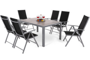 Lauko baldų komplektas Capri 145 cm Silver / Light Grey Ibiza Basic Silver / Black 6+1