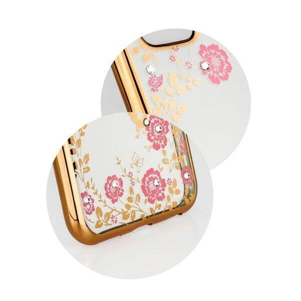 Telefono nugarėlė Blun Diamond Flowers, skirta Huawei P20, skaidri/auksinė internetu