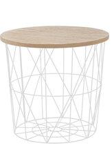 Kavos staliukas - daiktadėžė Mariffa, baltas/rudas kaina ir informacija | Kavos staliukai | pigu.lt
