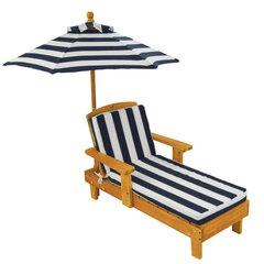 Lauko gultas su skėčiu, baltas/rudas kaina ir informacija | Vaikiški lauko baldai | pigu.lt