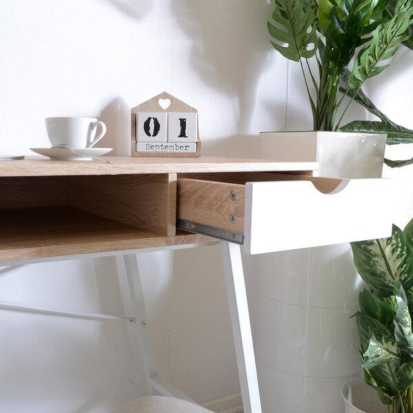 Rašomasis stalas Gavle, baltos/ąžuolo spalvos