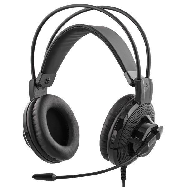 Ausinės DELTACO, ant ausų su mikrofonu, juodos / HL-250