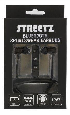 Ausinės STREETZ, į ausis, Bluetooth, su mikrofonu, atsparios vandeniui, juodos / HL-312