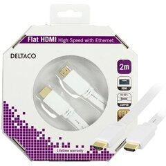 DELTACO HDMI-1020H-K, plokščias HDMI kabelis, 2m kaina ir informacija | DELTACO HDMI-1020H-K, plokščias HDMI kabelis, 2m | pigu.lt