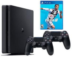 Sony Playstation 4 (PS4) Slim 1TB + FIFA 19 + 2 žaidimo pulteliai