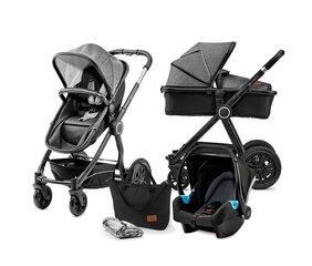 Universalus vežimėlis Kinderkraft VEO 3in1, black/grey