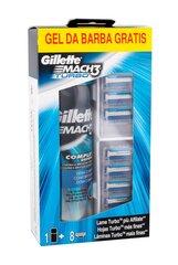 Skutimosi rinkinys vyrams Gillette Mach3 Complete Defense: skustuvo galvutės 8 vnt + skutimosi gelis 200 ml kaina ir informacija | Skutimosi priemonės ir kosmetika | pigu.lt