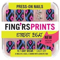Dirbtiniai nagai manikiūrui Fing'Rs Prints Press On Nails 24 vnt, Street Beat