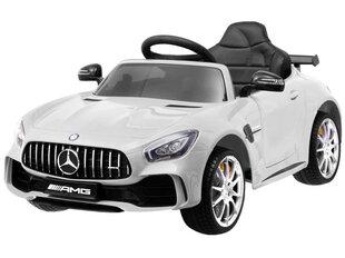Детский одноместный электромобиль Mercedes AMG GT R с кожаным сиденьем, белый